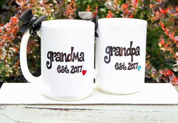 New GRANDMA or GRANDPA Mugs, Est. Year, Cute Pregnancy Announcement