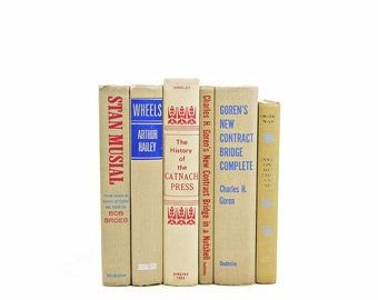 Vanilla Beige Antique Book Set, Decorative Books, Old  Book Collection, BOok Stack, Home Office Decor, Vintage Book Decor, Instant library
