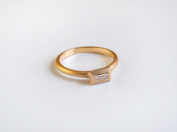 Simple diamond baguette engagement ring 18k by BermanDesigners