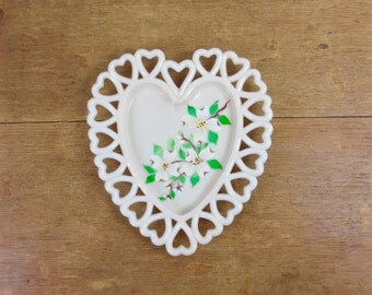 Westmoreland Coraline Milk Glass Heart Plate with Open Heart Border and Hand Painted Magnolia Blossoms
