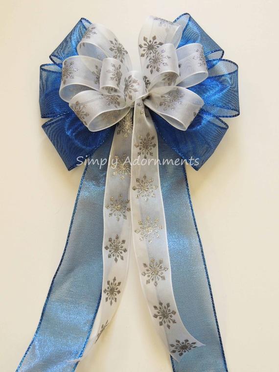 Blue Silver Snowflakes Christmas Bow Royal Blue Silver Snowflakes Bow Winter Wedding Pew Bow  Blue Silver Snowflakes Christmas Wreath Bow