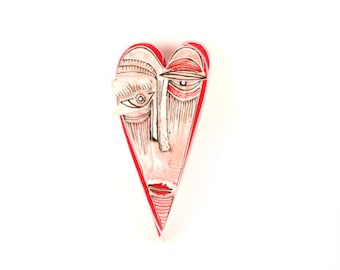 Gift for anniversary, Ceramic heart mask, Love ornaments, Gift for couple, Abstract ceramic, Ceramic wall art, Wall art sculpture