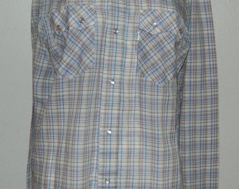 Vtg 70s Levis Blue Brown Plaid Pearl Snap Long Sleeve Western Rockabilly Lightweight Dress Shirt Mens Med