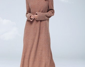 Draped Collar Knit Wool Dress, Winter Dress, Long Sleeve Dress, Knit Dress, Maxi Dress, Long Wool Dress, evening Dress, Sweatshirt Dress