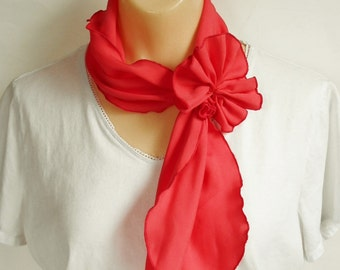 Ruffled Scarf Red Orange GIRLS Hair Tie, Womens Neck Scarf with Bow, Vintage Fashion Accessory