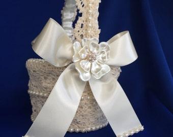 custom lace ivory  flower girl basket with faux pearl flower brooch   vintage inspired basket lace flower girl basket and bling