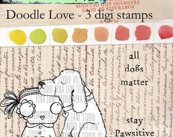 Doodle Love - 3 digi stamps in png and jpg for instant download