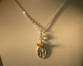 Our Lady of Lourdes and St. Bernadette Necklace~