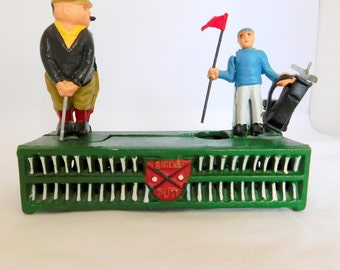 Golfers Bank, Cast Iron, Metal Bank, Golfers, Fathers Day Cast Iron Bank