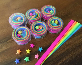 SIX PACK -  Origami Lucky Stars Paper Strips Kraft Kit, 100 count, Rainbow Multicolor