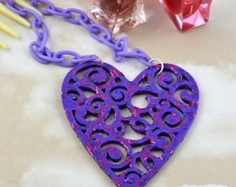 Purple Glitter Heart Pendant - Wooden Heart Necklace – Painted Nail Varnish Jewellery