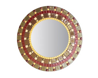 Round Wall Mirror in Brown and Olive Green Glass Mosaic, Accent Mirror, Earth Tones, Decorative Mirror, Brown Home Decor - SALE