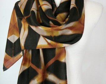 Gold Luxury Silk Wrap Hand Dyed Long Silk Scarf Shibori Itajime Scarves