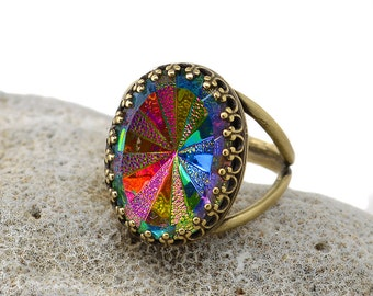 Rainbow Ring, Color Changing Jewelry, Gothic Crystal Ring, Rainbow Crystal Ring