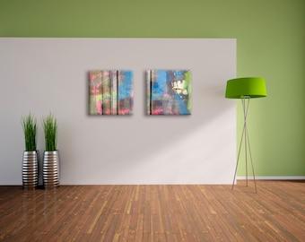 Set of 2 abstract art prints on canvas - Home decor - wedding gift idea
