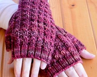 Textured Rib Knit Texting Gloves Pattern - ARALUEN Fingerless Mitts Knitting Pattern PDF - Digital Download