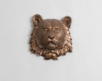 White Faux Taxidermy - The Laurel in Bronze - 1 Bronze Mini Resin Tiger Head- Resin White Faux Taxidermy- Chic & Trendy