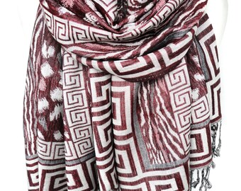 Red Scarf Shawl. Pashmina Fringed Scarf. Greek Meander. Folk Spring Woman Foulard Echarpe. Birthday gift for her. 27x74in Ready2Ship