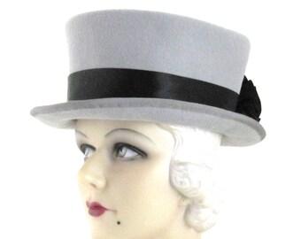 Womens Hat Black Grey Fur Felt Flower Riding Hat Handmade Hat Wedding Hat Cloche Derby Ascot Races Art Deco Custom Made for Each Client