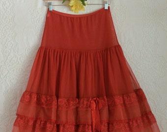 vintage 1950s red ruffle petticoat