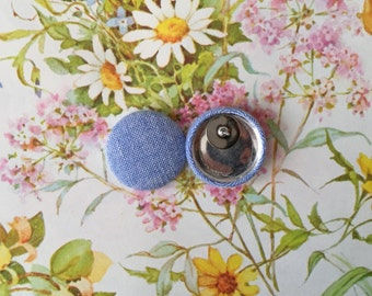 Fabric Covered Button Earrings / Chambray / Blue Denim / Hypoallergenic / Studs / Wholesale Jewelry / Handmade in Brooklyn / Gifts for Her
