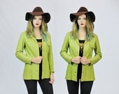 1970s Disco Mod Lime Green Tailored Snap Front Jacket