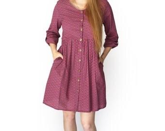 Sale, Button dress, Long Sleeve dress, Boho dress , Short dress, Casual dress, Winter dress, pocket dress, Maroon dress, Above the knee