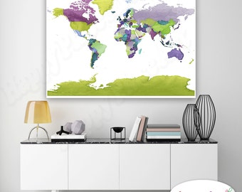 Large world map canvas travel map push pin map framed world detailed world map print world map canvas push pin world map purple green gumiabroncs Images