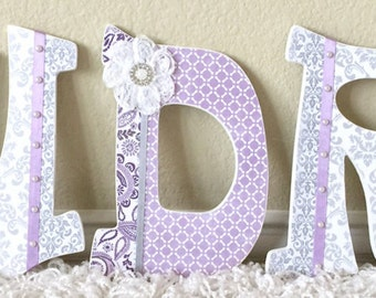 Custom Nursery Letters- Baby Girl Nursery Decor-Lavender, Grey, Personalized Gift- Wooden Hanging Letters -Wall Letters- The Rugged Pearl