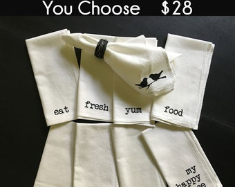 SET OF 4 - Flour Sack Napkins - Mix & Match - You Choose