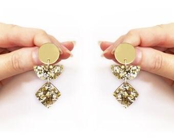 Totem Gold Glitter Dangle Earrings