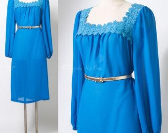 Vintage Blue Dress, 70s Dress, Sheer blue dress, Vintage Secretary Dress, Formal Dress - XL/1XL