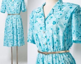 Vintage 80s Dress, Vintage Turquoise Dress, Blue floral Dress, 80s secretary dress, summer dress, plus size - 1XL