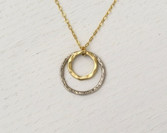 Double circle necklace, Silver circle pendant necklace, Mixed metal necklace