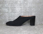 Vtg 90s Black Structural Minimalist Chunk Heel Clogs Mules 9 1/2