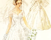 Simplicity 1461 Vintage 1950s Tea or Floor Length Wedding Dress, Headpiece and Veil Sewing Pattern Size 13