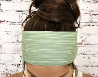Yoga Headband- Bamboo Stripes - Sage - Eco Friendly