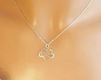 Sterling Infinity Heart Necklace, Love Forever Necklace, Sister Necklace, Friendship Necklace, Promise Necklace, Bridesmaid Gift