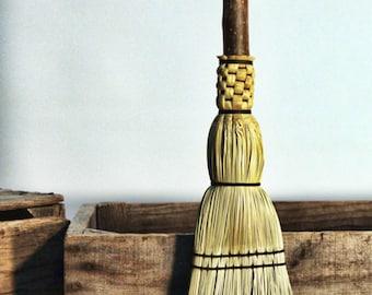 Pioneer Fireplace Hearth Broom - Natural Handle Besom - Flat Sewn Hand Broom