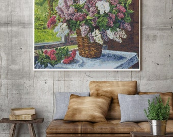 Counted Cross Stitch PATTERN Lilacs by the Window by Pyotr Konchalovsky, Cross Stitch Chart PDF