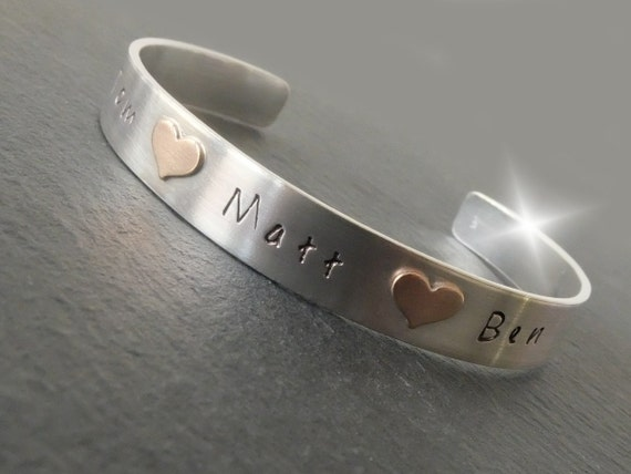 Copper and Silver Bangle with Childrens Names, Valentines Day Gift, 7th Anniversary Gift, Seventh Anniversary, Childrens Names Bangle,