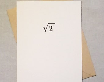 Geeky I'm Sorry Math Card / Equation Card / I'm Sorry I Was Irrational / Irrational Number Square Root of Two / Positively Awesome Card