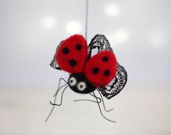 Needle Felt Ladybug  - Little Felt Ladybug - Fall Home Decor - Ladybird Ornament - Ladybug Miniature - Handmade Ladybug - Needle Felted Doll