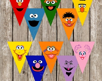 Sesame Street Faces Banner - Sesame Street Cutouts - Sesame Street Birthday Party - Instant Download
