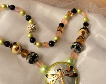 """Dragonfly Jewelry Necklace-Vintage CZECH BUTTON Statement Necklace-""""For Dragonfly Lovers""""-Dragonfly Collector Necklace-Dragonfly Gift"""