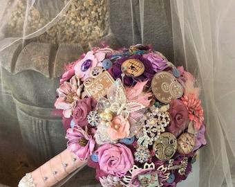 Alice in Wonderland Wonderland Wedding-Brooch Bouquet-Victorian Steampunk Wedding-Steampunk Alice Wedding Flower Bouquet-Bridal Flowers