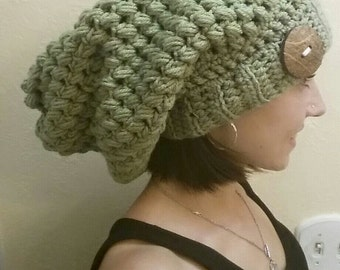 Bohemian Slouchy Crochet Beanie / Women/ Winter/Warm/Button/Custom/made to order