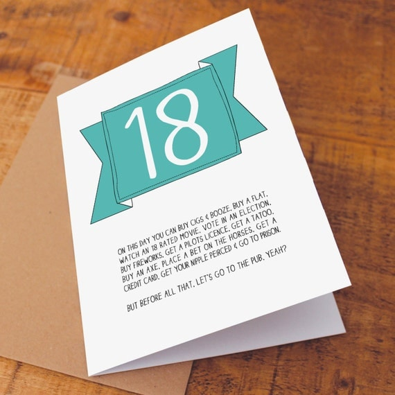 Funny 18th Birthday Card Funny Birthday Card Funny 18 Card – Funny 18th Birthday Card
