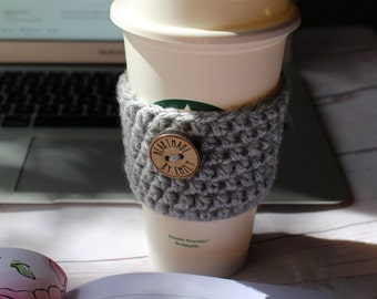 Coffee Cozy ~ Crochet Coffee Cozy ~ Reusable Coffee Cup Sleeve ~ Gray Cozy ~ Silver Cozy