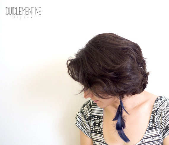 Dark blue feather earrings